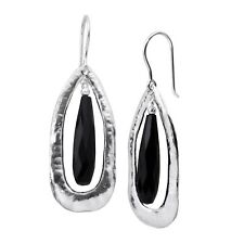 Silpada 'rock Out' Natural Black Agate Cut-out Drop Earrings in Sterling Silver