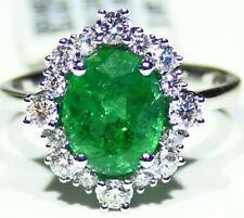 2.91CT 18K Gold Natural Round Cut Emerald White Diamond Vintage Engagement Ring