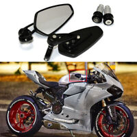 "Black 7/8"" Handle Bar End Rearview Mirrors Custom For Ducati 1199 Panigale"