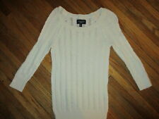 WOMENS AMERICAN EAGLE WHITE CABLE KNIT SWEATER Cotton Wool Blend JUNIORS SMALL