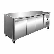 Husky 358L Triple Door Prep-Counter Style Stainless Steel Refrigerator