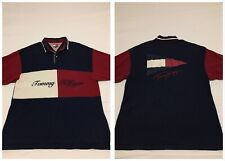 VTG 90s Tommy Hilfiger Flag Script Logo Colorblock Sailing Polo Shirt Mens XL