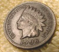 1906 INDIAN CENT Extra Fine Condition Full LIBERTY