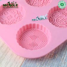 6 Holes Silicone Soap Mold Moon Cake Asian Symbol Mid-Autumn Festival Tools