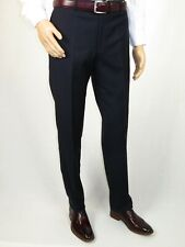 Men's MANTONI Flat Front Pants 100% Wool Super 140's Classic Fit 40901 Navy Blue