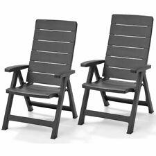 Allibert 2x Reclining Garden Chairs Brasilia Graphite Outdoor Camping 222970