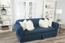 Washed Heavy Blue Denim 2 pc Sofa Slip Cover Cotton /  Loveseat / Arm Chair