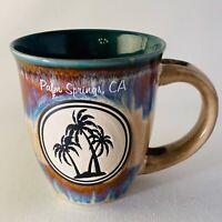 PCF Souvenirs Palm Springs Mug Blue Purple Red Teal Drip Glaze