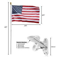 2-Position Bracket 6ft Aluminum Sliver Flagpole Gold Ball 2X3Embroidered Flag US
