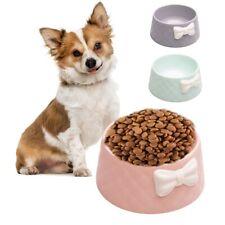 Pet Dog Feeding Food Bowls Puppy Lovely Bowknot Feeder Dish Bowel Bow Cat Bowl.