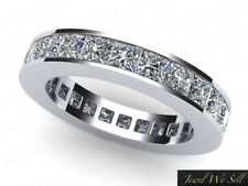 4.10Ct Princess Diamond Channel Set Eternity Wedding Band Ring Platinum G SI1