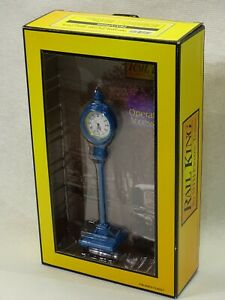 BLUE  RAIL KING CLOCK TRACK SIDE Accessory MINT USED CONDITON in box