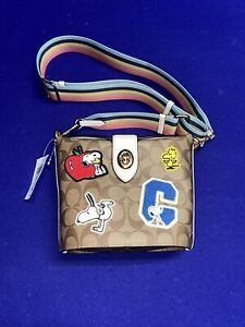 NWT Coach X Peanuts C4113 Addie Crossbody With Varsity Patches Limited Edition