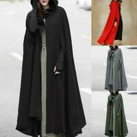 Women Trench Coat Open Front Cardigan Hooded Shawl Cape Cloak Poncho Top