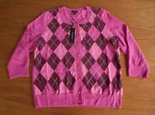 NWT Talbots Women's Size L Pink 100% Merino Wool Argyle Cardigan Sweater
