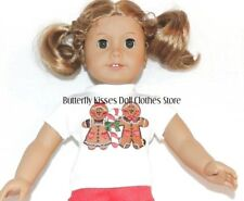 Christmas Gingerbread Boy Girl T-Shirt 18 in Doll Clothes Fits American Girl