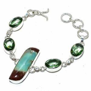 "Boulder Chrysoprase, Green Amethyst Silver Jewelry Bracelet 7-8"" BRJ3121"