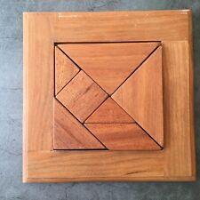 Handmade Wooden Wood Geometric Tangram Puzzle Brain Teaser