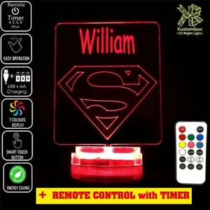 Superman Personalised Name Night Light LED 7 Colour + Remote Timer Children's R