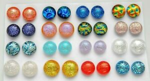 FOR POST EARRINGS TINY Lot 32 pcs round gorgeous DICHROIC FUSED GLASS (M18) CABS