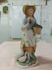 "Vintage Homco Old Woman Home Interiors #8805 Farmers Figurines 11"" high"