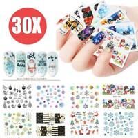 3D Nail Art Transfer Stickers DIY Snowflake Santa Christmas Decals 30 Sheets