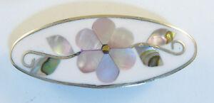"Alpaca hair clip / barette shell inlay flower desiign white 1 7/8"" long"