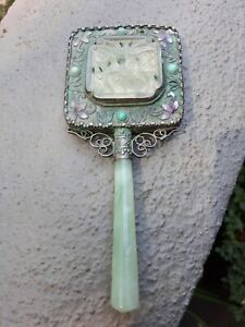 Antique Ornate Carved Jade Small Hand Vanity Mirror Light Inlaid Stones