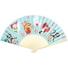 Sourpuss Love Cats Hand Fan Chinese Japanese Folding Style Retro Rockabilly Cute