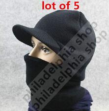 5 LOT WHOLESALE HAT Black SKULL CAP VISOR skull mask SKI SKATE board WINTER