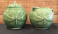 Majolica Green Dragonfly Creamer & Covered Sugar Bowl Made in Portugal