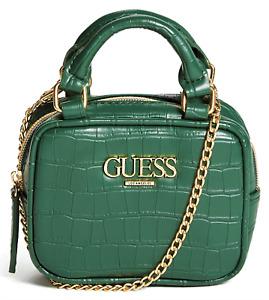 NWT GUESS HARPER HANDBAG Womens Mini Green Logo Satchel Crossbody Shoulder Bag