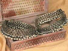 Oxidized Indian Anklets Jewelry Ghungroo Payal Silver Work Jewellery Bollywood