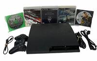 Sony PlayStation 3 PS3 Slim Bundle- Black CECH-3001A (HEN) w/Controller-5 Games
