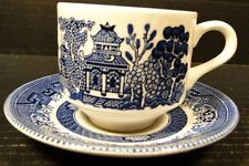 Churchill Blue Willow Blue White Cup Saucer Set England