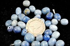 10 Drilled Blue Agate Tumble Stone Beads Powerful Healing Chakra Reiki