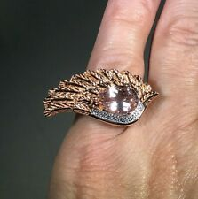 2.5ctw Morganite & White Zircon Angel Wing Ring - Size 6 - SS Rose Gold Vermeil