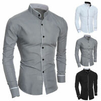 Men's Stand Collar Shirts Slim Fit Button Down Dress Formal Casual T-shirt Tops