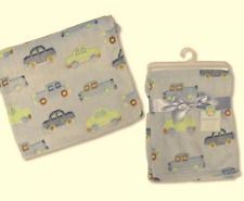Brand new in pack Snuggle super soft baby blue blanket with cars 75 x 100 cm