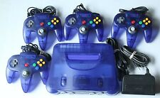 Purple Nintendo 64 N64 Console System Clear Funtastic 4 Official Controllers Lot