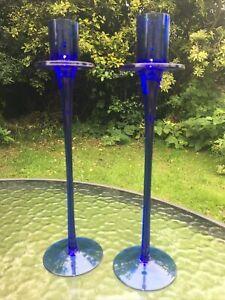 Stunning decorative blue glass candleholder 1970's handmade pair candlesticks
