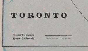 """Vintage 1900 TORONTO CANADA Map 14""""x11"""" Old Antique Original BEDFORD QUEENS PARK"""