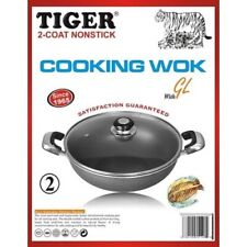 Wok Non Stick Aluminium with Lid Tiger Brand in 2 sizes 1 & 2 (Free Post in UK