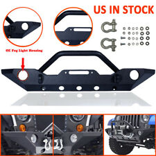 For 07-17 Jeep JK Wrangler Black Front Bumper with OE Fog Light Hole&Winch Plate