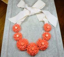 Kate Spade Orange coral Gerbera Daisy Flower ribbon necklace