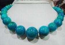 stunning big 10-20mm blue crude turquoise gemstone round beads necklace 18''