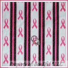 BonEful FABRIC Cotton Quilt White Pink B&W Ribbon Stripe Breast Cancer Dot SCRAP