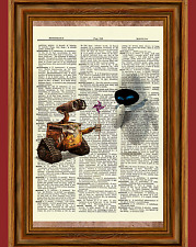 Wall-E And Eve Dictionary Art Print Poster Picture Walt Disney Wall E Gift