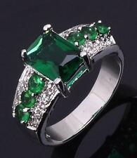 BRAND NEW - 10K White Gold Filled Green Emerald Ring - size 10