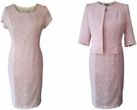 PALE LIGHT PINK MOTHER OF THE BRIDE GROOM 2 PIECE OUTFIT JACKET DRESS SIZE 10